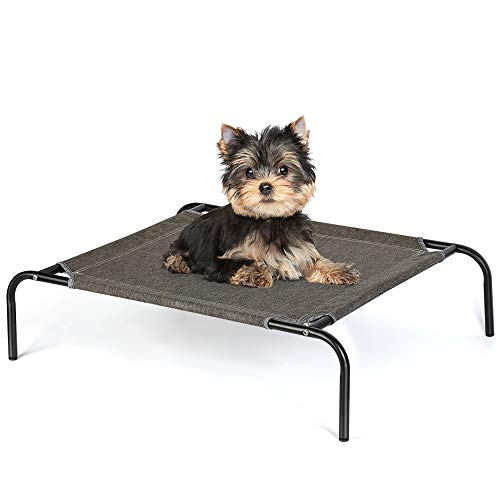 HAITRAL-Elevated-Pet-Bed-Small-Pet-Cot-for-Dogs-Cats-Outdoor-Indoor-Camping-Raised-Cot-27-x-21-x-7-Inches-Black-0