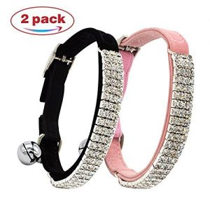 Yangbaobao Heart Bling Cat Collar with Safety Belt and Bell 8-11 Inches